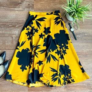 Who What Wear Black & Yellow Floral Midi Skirt